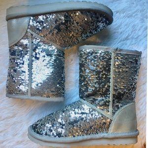 Silver glitter girls boots